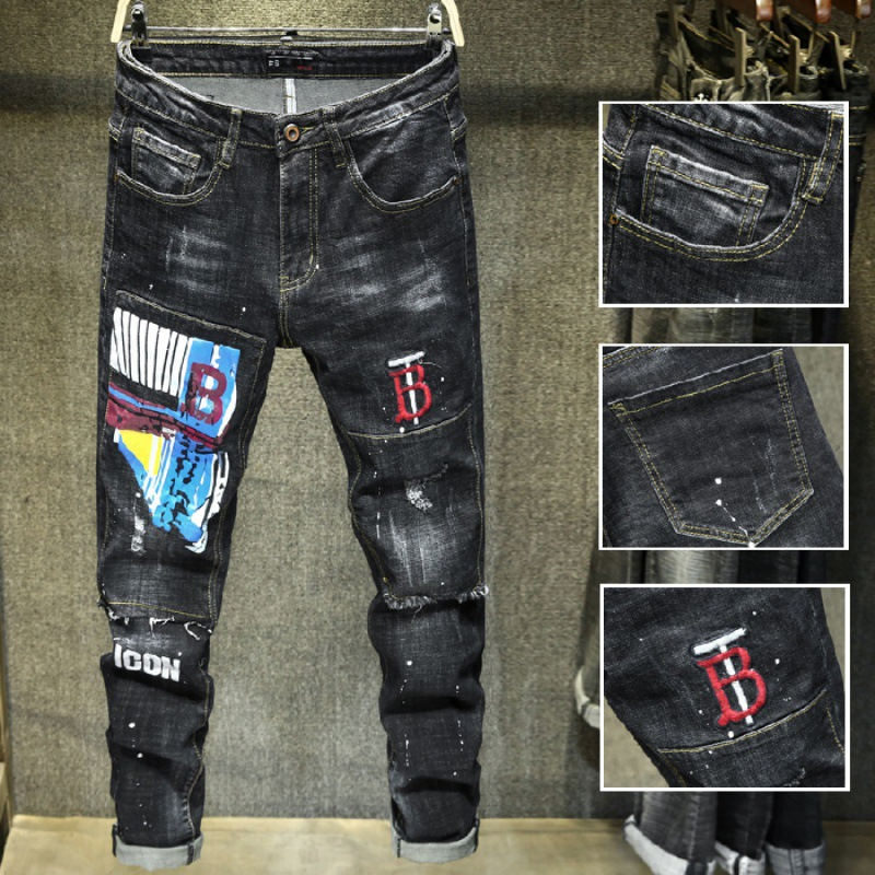 New Style Popular Brand Printed Embroidered Jeans Men's Elasticity Hip Hop Street Beggar With Holes [QQ Group: 58411717