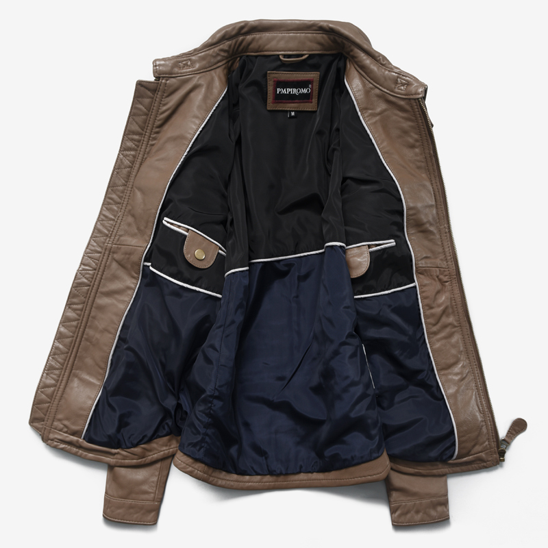 Men's Genuine Leather Autumn Leather Jacket Sheepskin Coat For Men Motorcycle Short Korean Jackets Male 180001 KJ852