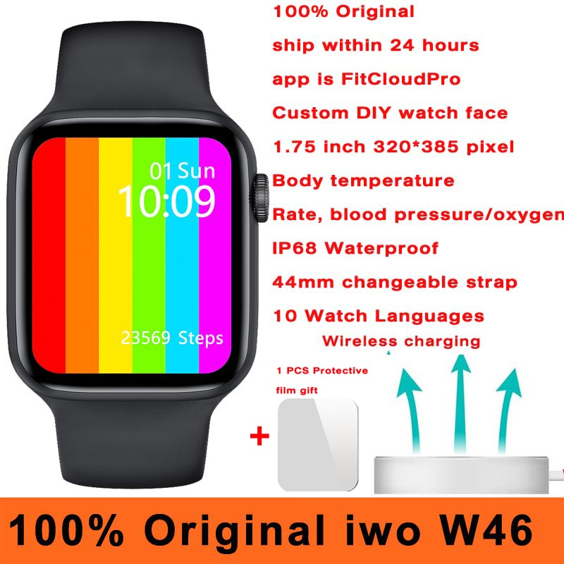100% Original iwo W46 Smart Watch 44MM 40MM Wireless charging ECG Heart Rate Body Temperature IP68 Waterproof Smartwatch Men