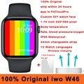 100% Оригинальные Смарт-часы iwo W46 44 мм 40 мм Беспроводная зарядка ЭКГ пульсометр температура тела IP68 Водонепроницаемые Смарт-часы для мужчин
