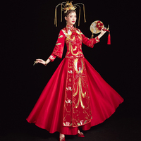 Chinese Bride Dress Vintage Embroidery Phoenix Long Qipao Evening Gown Ancient Wedding Gift Novelty Marriage Suit Oversize 3XL