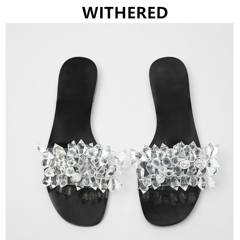 Withered 2020 flat shoes women enlgand simple ins fashion blogger crystal summer beach slippers women shoes woman shoes women