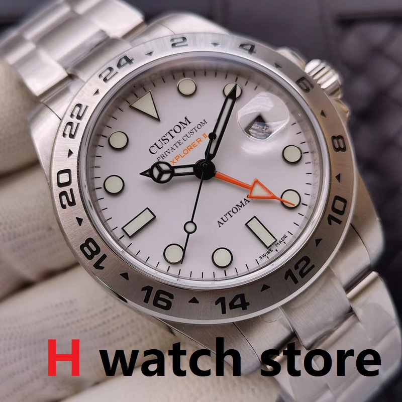 GMT 40mm Watches Men Automatic Mechanical Watch Men's Sapphire Glass Luminous Stainless Steel Meteorite White Dial Wristwatch