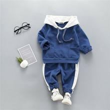 цена на Imcute Winter Autumn Kids Baby Boy Girl Clothes Sets For Hooded Toddler Newborn Solid Tops Pants Leggings Outfits Sport Style