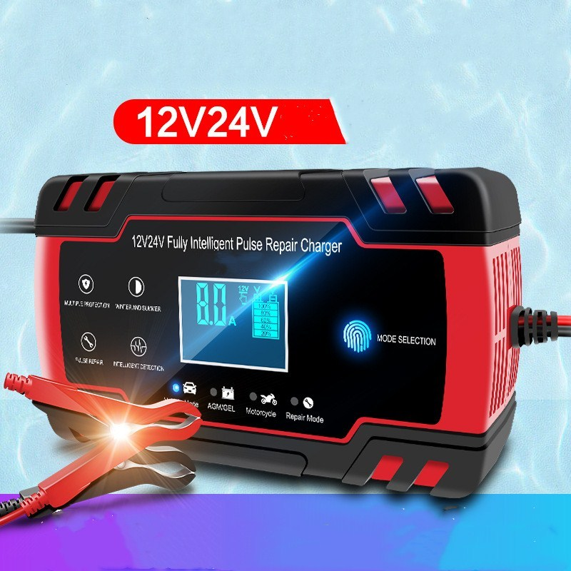 Car Battery Charger Fully Automatic 12V 8A 24V 4A Smart Fast Charging for AGM GEL WET Lead Acid Battery Charger LCD Display