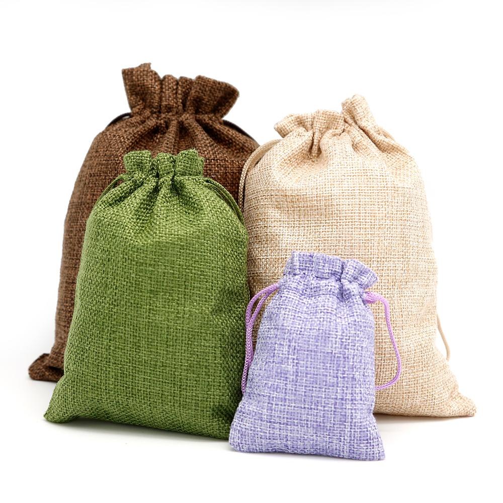 5Pcs/lot Drawstring Natural Burlap Bag Jute Gift Bags Multi Size Jewelry Packaging Wedding Bags With Candy Bag