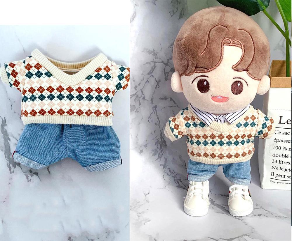 20 Cm Kpop EXO Kai Jongin Plush Boneka Pakaian Atasan Pullover Kemeja Jeans Celana Sepatu Sesuai