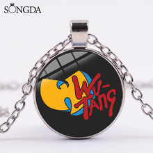 SONGDA WU TANG CLAN Long Chain Necklace HIP-HOP Rap Band Fun Logo Glass Cabochon Pendant Necklace Jewelry for Wu Tang Music Fans(China)