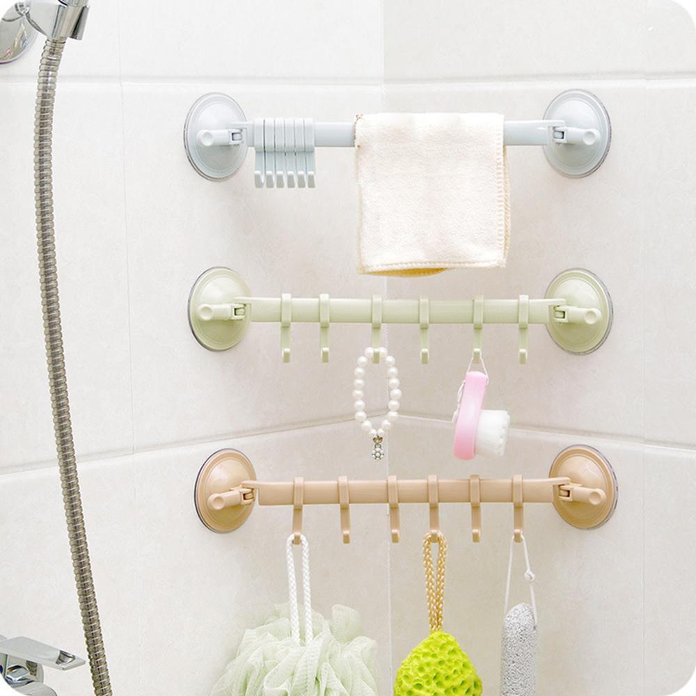 Towel Spoon Rack Suction Cup 6 Hooks Bathroom Kitchen Wall Door Non-trace Strong Holder Sucker Hanger