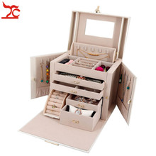 Large Jewelry Packaging  Display Box Armoire Dressing Chest With Lock Ring Jewelry Organizer Carrying Case Princess Wedding Gift