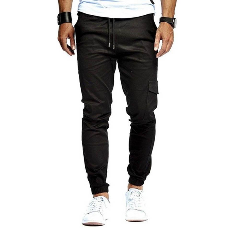 Men Pencil Pants Slender Pants Multi-Pockets Drawstring Sweatpants Elastic Ankle Cuff Trousers Cargo Pants