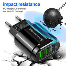 Olaf 3 Port Quick Charge 3.0 USB Charger EU US Plug Fast Charging Mobile Phone Charger For iphone Samsung Xiaomi Tablet Adapter