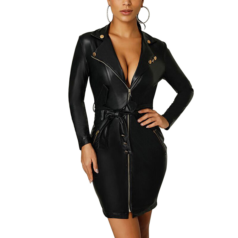 NORMOV Autumn Fashion Women Dress Sexy Deep V Long Sleeve Package Hip With Zippers Sashes Polyester Sheath Black Pu Dress