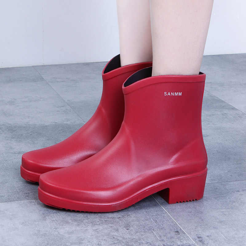 Neue Frau Regen Stiefel Ankle Boot für Frau Wasserdicht Feste Farbe Schuhe Frühling Herbst Regen Stiefel Nicht-Slip Weibliche casual Schuh 98