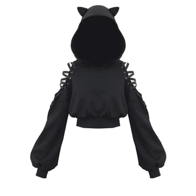 Gothic Women Sweatshirt Women's Long Sleeve Fleece Sweatshirt Warm Cat Ears Short Style Hoodie Pullover Womens Sweatshirts 2019