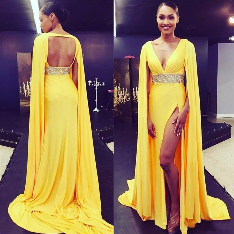 Yellow V Neck Sexy Open Back Evening Dresses Split Formal Celebrity Red Carpet Dress With Cape Long Prom Gowns Vestidos De Noiva