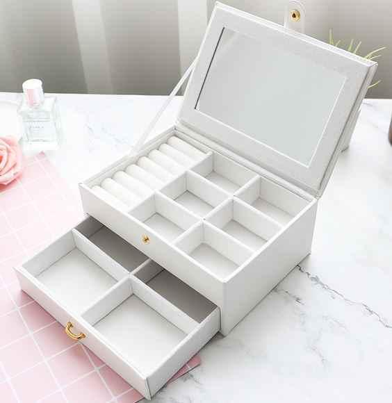 プリンセスジュエリーボックスファッション女性ネックレスチェーンイヤリングジュエリーボックス小さな PU 収納ボックスホームシンプルなジュエリーディスプレイ