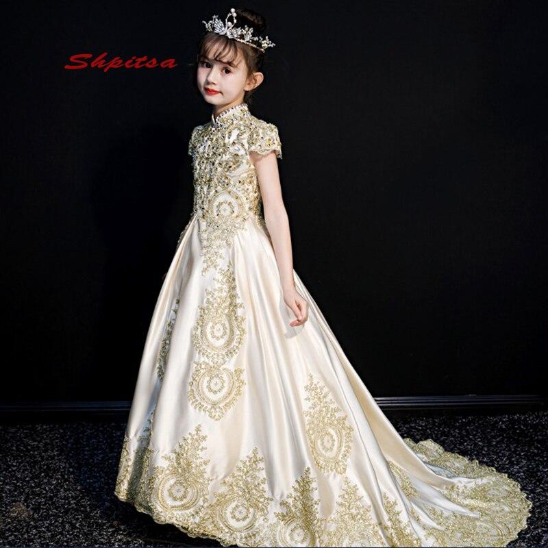 Blanc et Or Robes De Fille De Fleur pour Les Mariages Fête Flowergirl Première Communion Pageant Robes Pour Les Filles