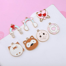 2019 new design cute cartoon fun animal pendant heart-shaped four-leaf clover planet earrings for women jewelry accessories