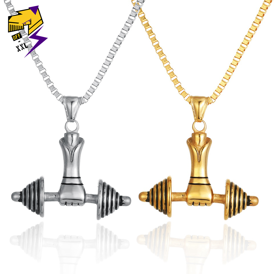 Punk Titanium Steel Necklace Mens 316L Stainless Vintage Oxidized Fitness Dumbbell Pendant Gothic Stainless Steel Pendant Necklace Silver Black for Teens Man Stainless Steel Chain Pendant