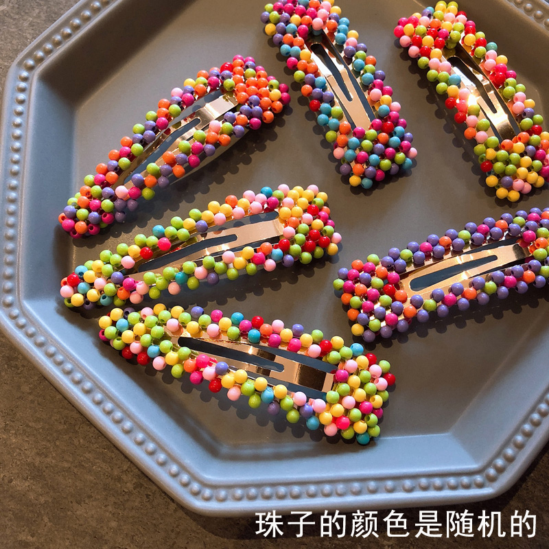 HZ 2019 Korea Chic Rainbow Colorful Summer Beads Fluorescent Hollow Hair Clip Barrette Hairpin Hair Accessories For Women Girls