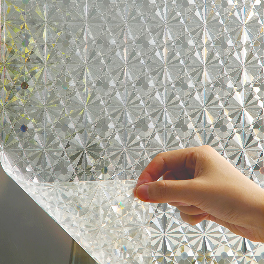 Privacy Frosted Window Film No-Glue Self Adhesive 3D Static Decorative Glass Stickers for Home Kitchen Office Anti-UV 5