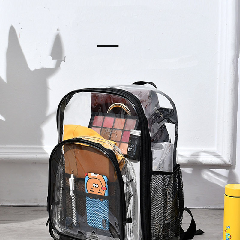 Aosbos PVC Waterproof Transparent School Bag See Through Backpacks High Quality Large Capacity Backpack Solid Clear Backpack