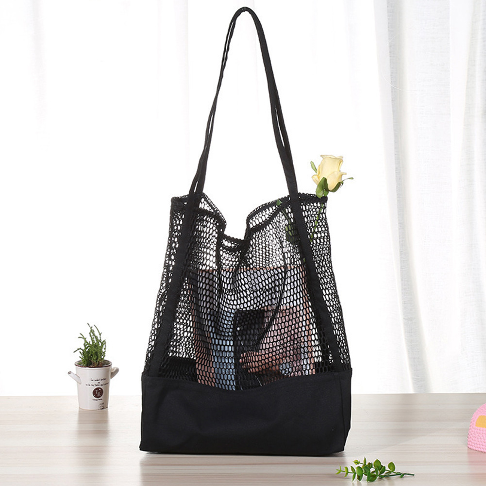 Bag Durable Canvas Pouch Shoulder Bag Large Capacity Fashion Fine Mesh Lightweight Shopping Breathable Eco-friendly Women
