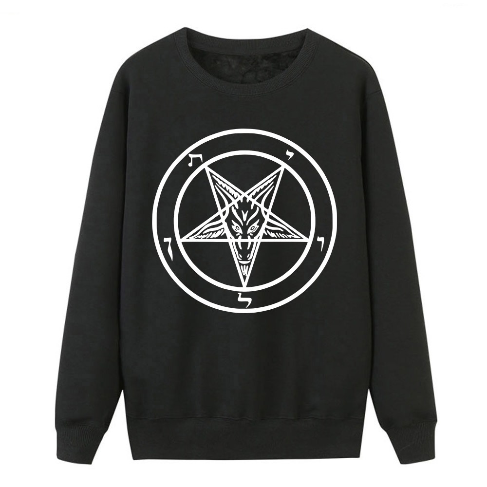 Hoodies Pullover For Women 2019 Hot Sell New Spring Winter Hoodies Sweatshirt Pentagram Gothic Occult Satan Print Pullover Women