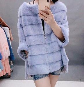 Image 2 - New Luxury women natural mink fur coat stripe zipper cardigan overcoat