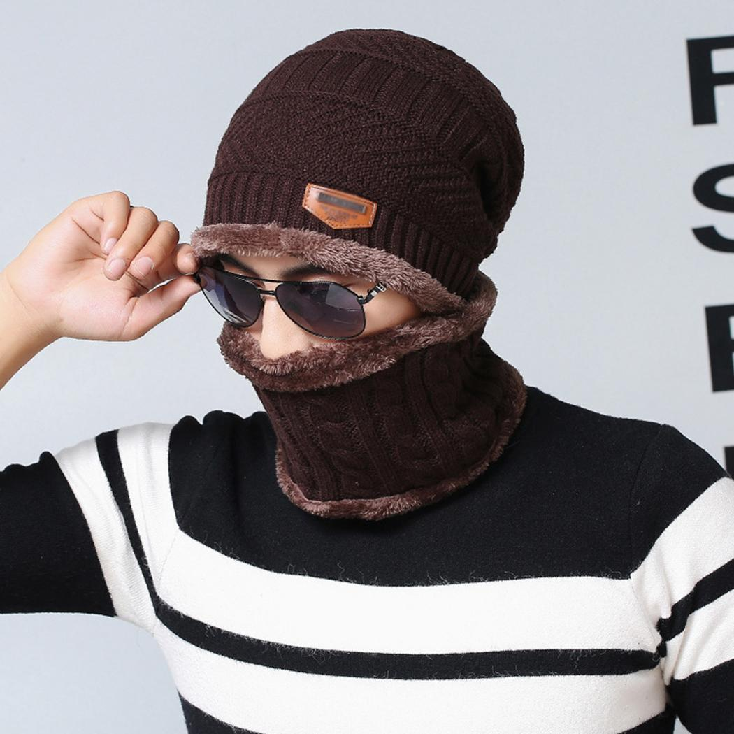 Winter Warm Men Solid Outdoor Adult Comfortable Knitted Hat Daily Life Autumn, Velvet Scarf Set