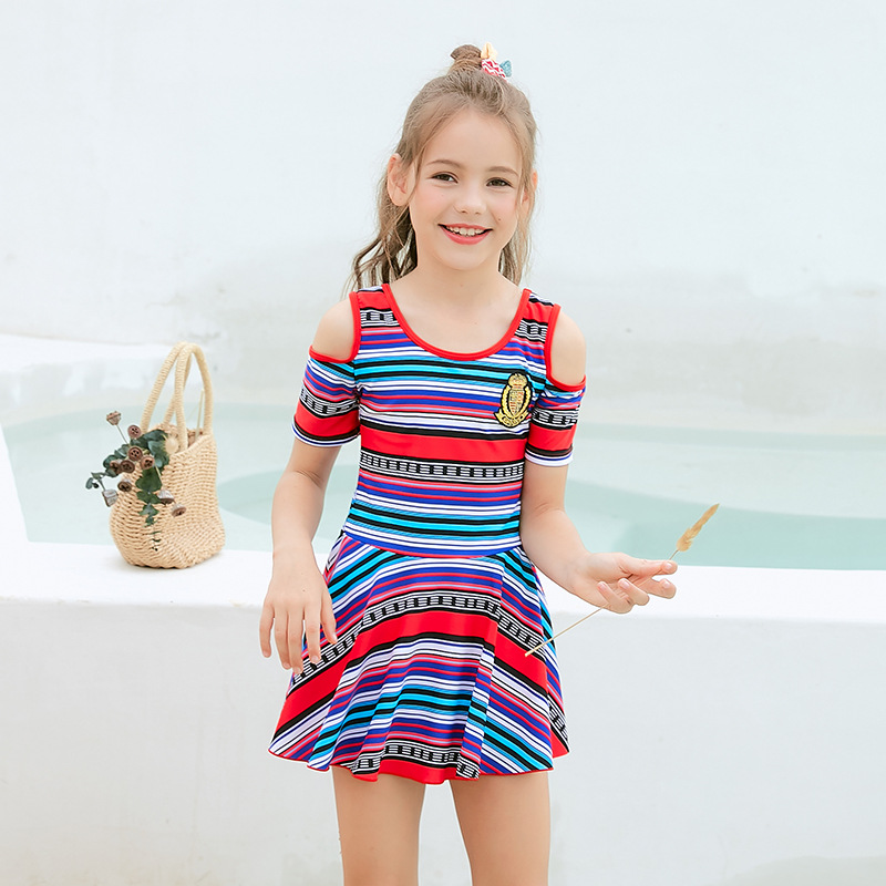 2019 New Style Hot Sales KID'S Swimwear Colorful Stripes Retro National Wind Dress-Hipster GIRL'S Swimsuit