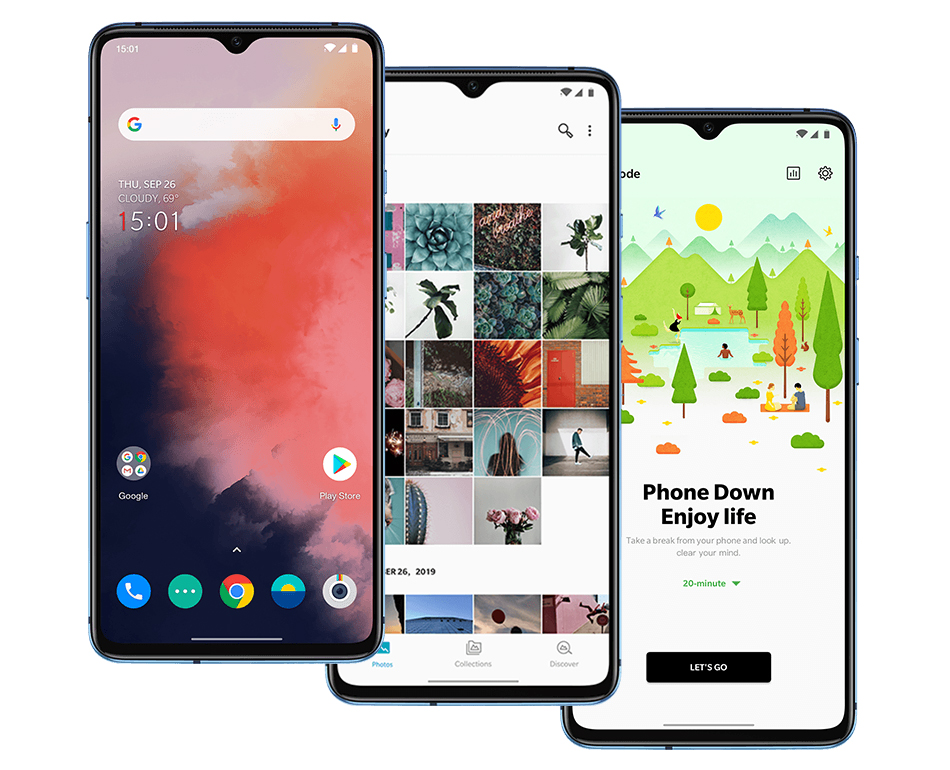 H605f94e46c5541a19933f5e67b291ce3D OnePlus 7T Global Version 8GB 128GB Snapdragon 855 Plus Octa Core 48MP Triple Cameras 90Hz Fulid AMOLED 3800 mAh UFS 3.0 NFC