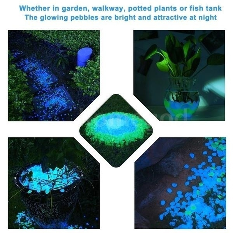 100Pcs Glow in the Dark Garden Pebbles Glow Stones Rocks Walkway Garden Path Patio Lawn Garden Yard Decoration Luminous Stone|Decorative Pebbles| |  - title=