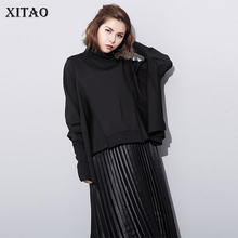 XITAO Irregular Black T Shirt Women Fashion New 2019 Autumn Pleated Batwing Sleeve Irregular Elegant Small Fresh Tee GCC2283(China)