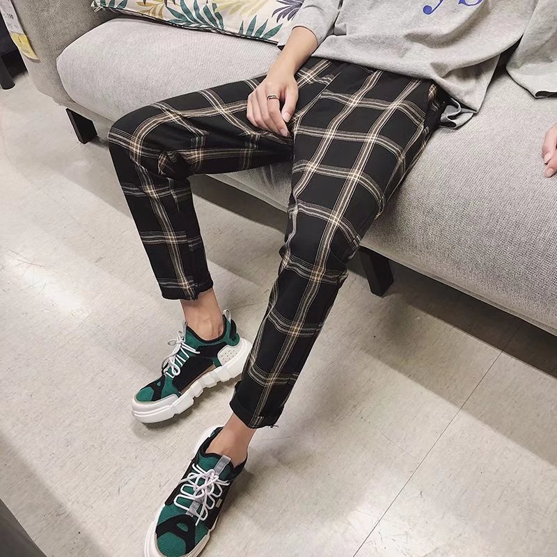 2018 Spring Hong Kong Style Plaid Capri Casual Pants Men Literature And Art Versatile Skinny Pants Korean-style Fashion Man Pant