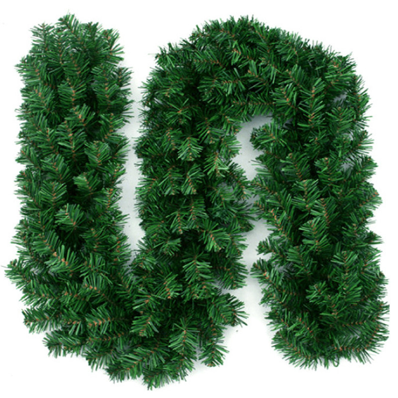 Artificial Green Christmas Garland Wreath Xmas Home Party Christmas Decoration Pine Tree Rattan Hanging Ornament For Kids 2.7M