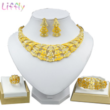 Liffly African Jewelry Sets Flower Shape Crystal Overlap Big Necklace Earrings Ring Bracelet Dubai Wedding Jewelry Sets Etc. lace jacquard embellished bracelet with flower shape ring