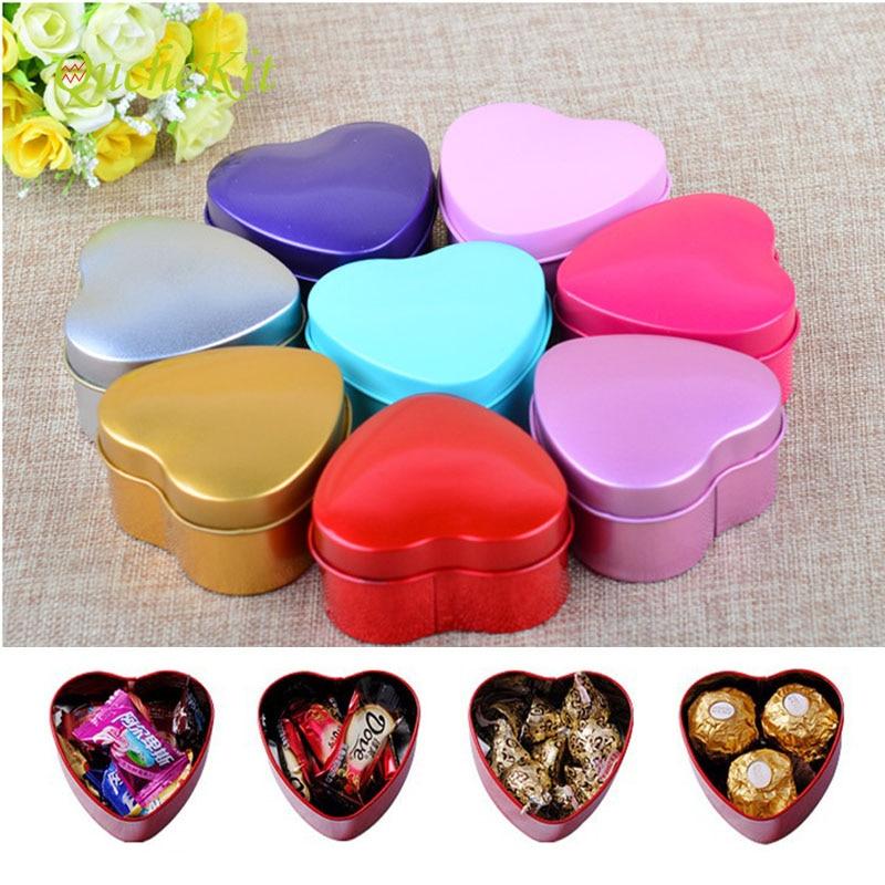 24 pièces/lot amour forme bonbons boîtes de rangement mariage faveur fer boîte avec fenêtre articles divers étain boîte organisateur conteneur