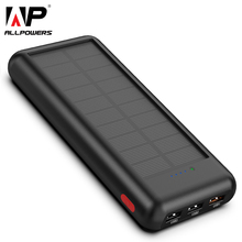 ALLPOWERS Newest 24000mAh Solar Power Bank Portable External Battery Solar Powerbank Charger for Smart Phone