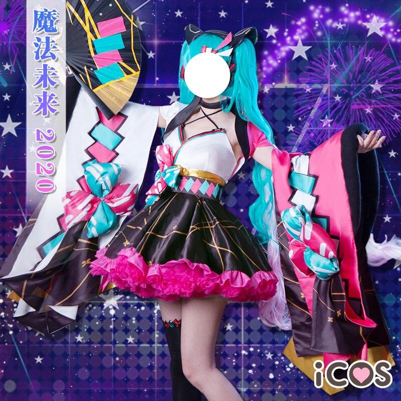 Anime Hatsune Miku Cosplay Costume  Miku Magical Mirai 2020 Kimono Summerfest Lolita Dress Female Role Play Clothing S-XL