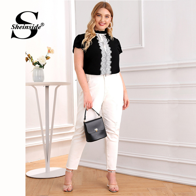 Sheinside Plus Size Elegant Contrast Lace Trim Blouse Women 2019 Summer Petal Sleeve Blouses Ladies Lace Up Frilled Neck Top 4