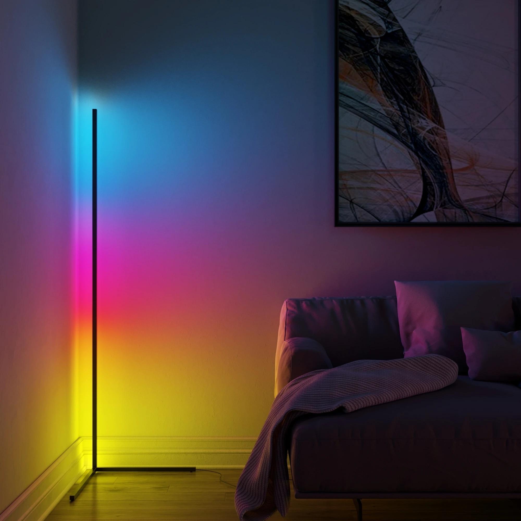Modern LED Corner Floor Lamp Atmosphere Light Lights Colorful Bedroom Living Room Home Decoration Indoor Lighting Standing Lamps