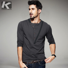 KUEGOU New Autumn Mens Fashion T Shirts Patchwork Button Gray Brand Clothing Fit Mans Long Sleeve Slim T Shirts Plus Size 1307