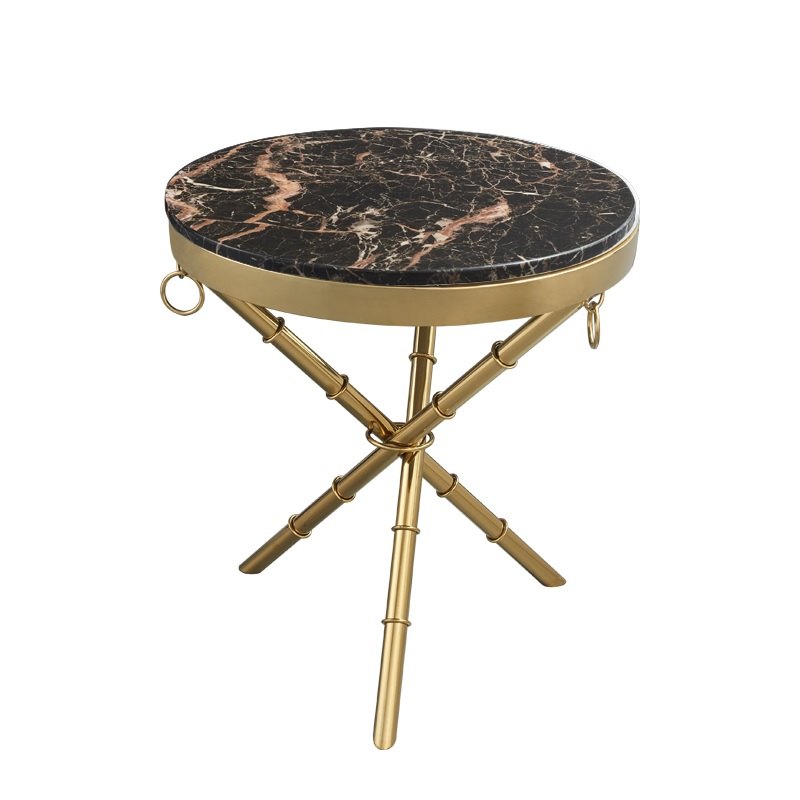 Tripod Small Coffee Table With 50cm Round Aritificial Marble Top / 50cm High / Gilded Metal Triple Legs