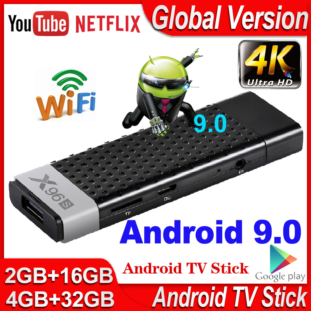 Anycast X96S Android 9,0 TV-Stick Android 9 4GB 32GB Amlogic S905Y2 Quad Core mircast airplay H.265 4K TV Dongle für netflix
