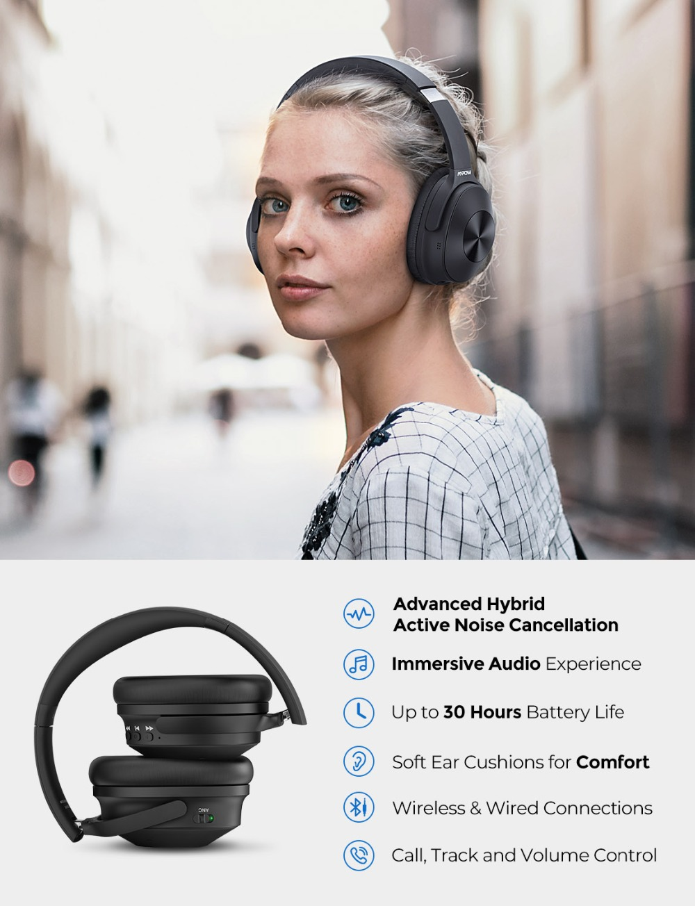 Image 2 - Mpow H12 Updated Hybrid Noise Cancelling Headphone Bluetooth  Headset Hi Fi Sound Deep Bass Headphone with 30 Hours Playing TimePhone  Earphones