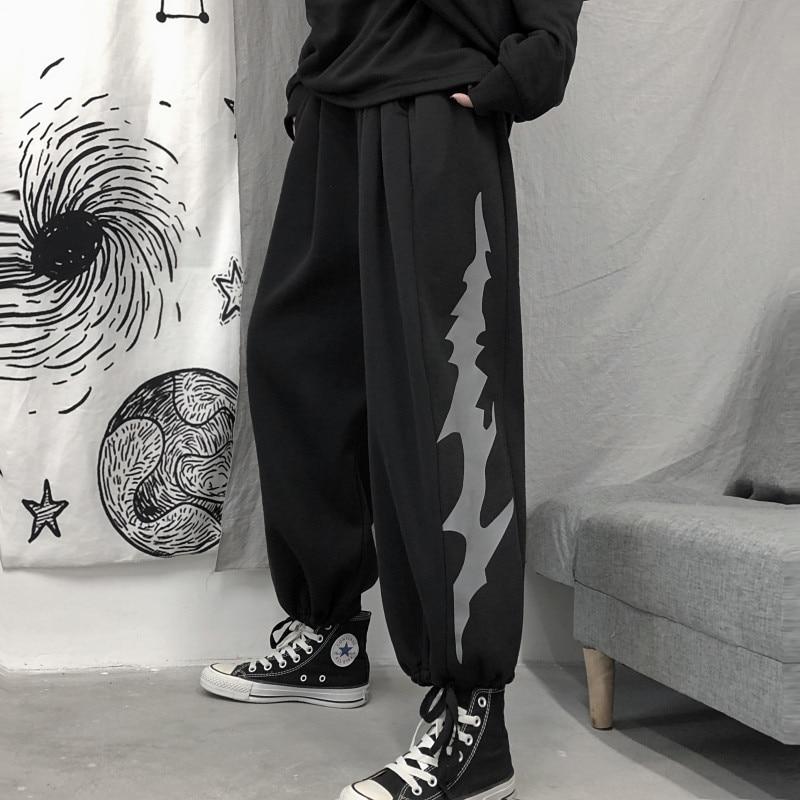 Focal20 Streetwear Lightning Print Women Jogger Pants Elastic Waist Drawstring Female Trousers Casual Loose Autumn Lady Bottoms