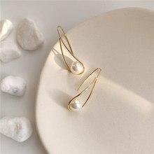 Nouveau doux Chic Imitation perles gouttelettes d'eau boucles d'oreilles géométrique longue goutte boucles d'oreilles de mariage fête cadeau bijoux pour femmes fille