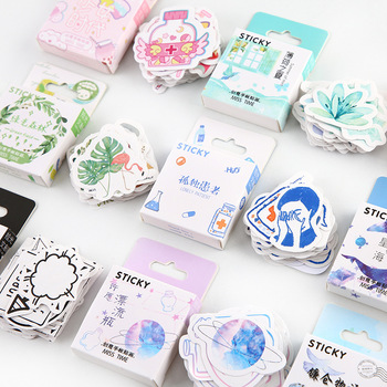 Girls' Generation Boxed Kawaii Ocean Forest Decoration Stickers Planner Scrapbooking Stationery Japanese Diary Sticker 46pcs/box 46pcs 1pack stationery stickers forest fruit animals diary planner decorative mobile stickers scrapbooking diy craft stickers